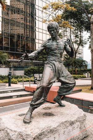 Bruce Lee statue in garden of stars in Hong Kong