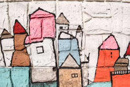 Children drawings at colorful tiles in Gamcheon Cultural Village in Busan South Corea