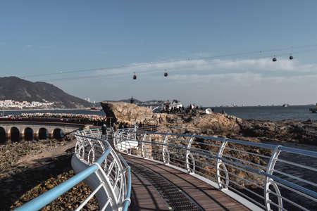 Songdo Beach Cloud Trails Busan South Korea with Song Marine Cable Car Sajtókép