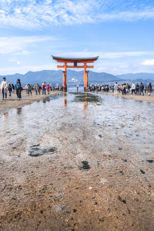 Low tide at the O-torii gate of the Itsukushima shrine at the Miyajima Island