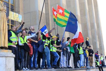 Raging yellow vest protesters rioting at popular Paris tourist spot Trocadero