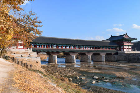 Newly reconstructed traditional Korean bridge of wood and stone in Gyeongju South Korea