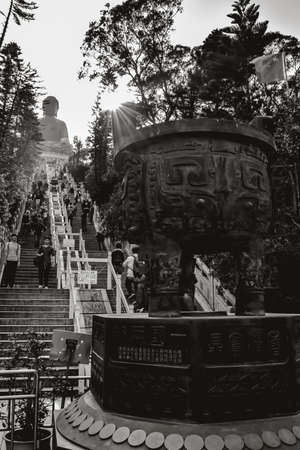 Stairway leading to the Tian Tan Buddha at the Lantau Island in Hong Kong China