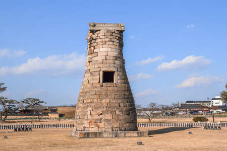 Ancient stone Korean star observatory tower in Gyeongju South Korea
