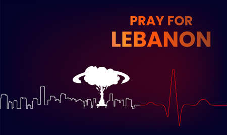 pray for lebanon vector design with red map and explosion, pray for beirut vector illustration. lebanon flag from massive explosion. design for humanity, peace, donations, charity 矢量图像