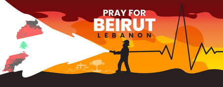 Pray for Lebanon and for Beirut, with fire fighter man and Lebanon flag, Tragedy in Beirut. Background dedicated to powerful explosions in Beirut. Vector illustration.