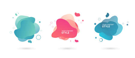 Set of abstract graphic elements, Gradient abstract banners with blue and pink color, abstract buttons design on white background, abstract Template for the design of a logo, flyer or Vector.