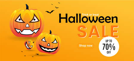 Halloween sale message with pumpkins banner