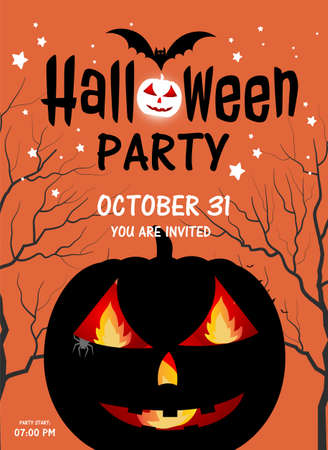 Halloween party invitations concepts for design banners and signs, with big black pumpkin and trees, Halloween text with bats on orange background, greeting cards calligraphy and traditional symbols.