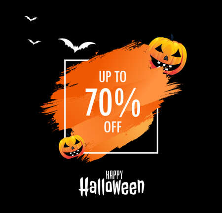 Happy Halloween Sale banners concepts vector, with lettering and background. Pumpkins, bats, drawn elements. Great for voucher, offer, coupon, holiday sale. vector illustration.