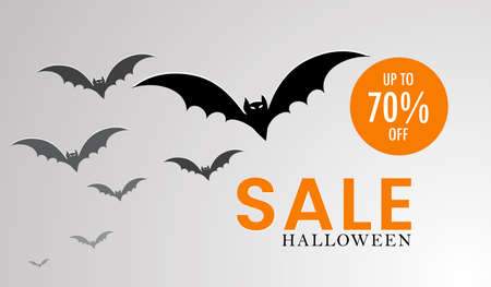 Halloween sale banner template, Halloween symbols of bats flying, Halloween party invitation concept, white background with text of sale price up to 70% off, Halloween vectors.