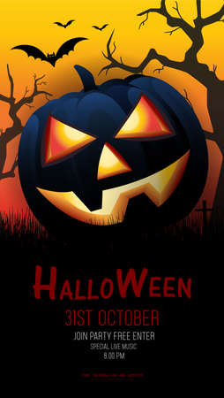 Halloween party design of templates,  Halloween Holiday concepts banner, poster, greeting card, party invitation. Vector illustration. 向量圖像