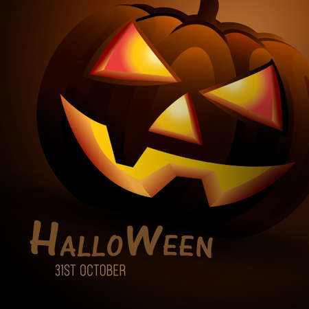Halloween Pumpkins On dark yellow background, scary night mare of Halloween day, Halloween Pumpkins  in dark Wood at night used for vector banners and poster concept of design in vector, illustration. 向量圖像