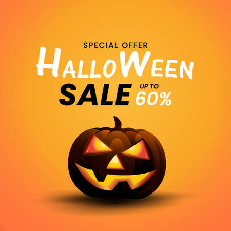 Halloween scary Pumpkin on yellow background, Halloween Sale off 60 percent design for SALE off concepts, Halloween design for banners, sign and poster, web, vector and illustion.
