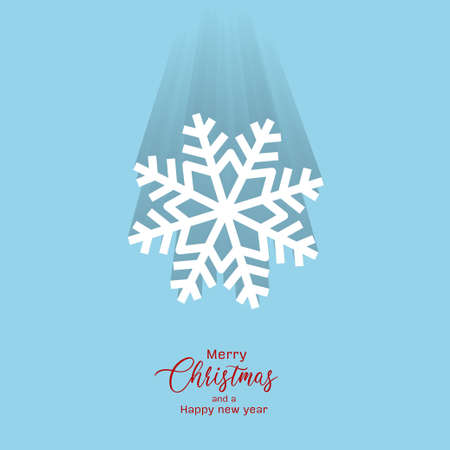 Snowflake and Merry Christmas text for Holiday design, Snowflake with dropshadow falling down effect, white Snowflake on light blue background, used in banners, poster, event flyers design, vector.