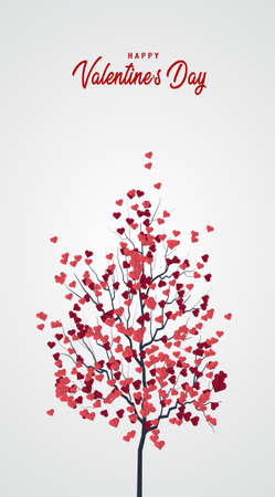 Happy Valentine's Day vertical banners design with pink hearts tree