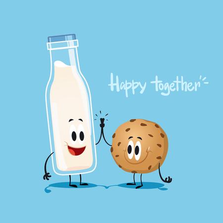 Melk en koekjes. leuke illustratie