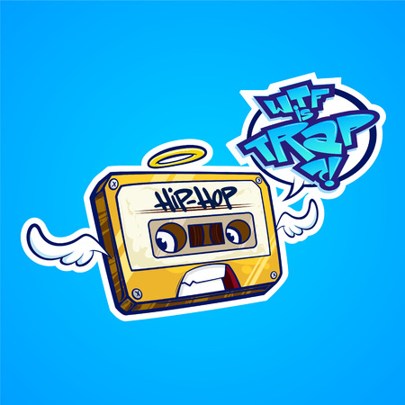 Hip-hop tape with wings. cute cartoon illustration.