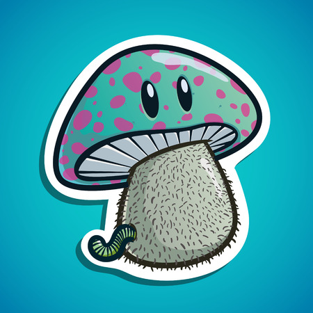 Funny mushroom with worm. cute illustration. stock illustration