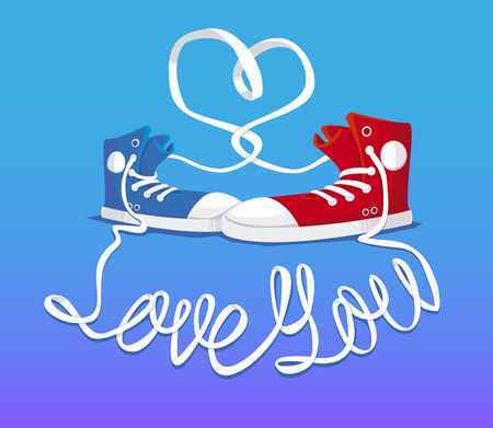 snickers: Hipster shoes with sign Love you. Cute illustration.