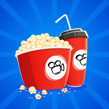 bowls of popcorn: Carton bowl full of popcorn and paper glass of drink