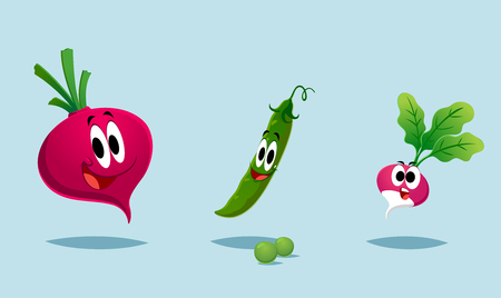 beets: beets peas radishes. cute illustration