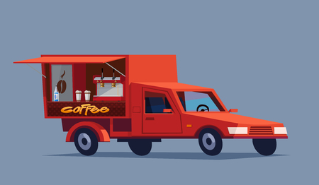 bar scene: Coffee car with Hot drinks on wheels. Cute illustration.