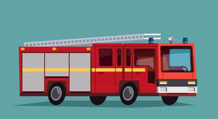 FIRE ENGINE: camion de pompiers rouge avec des rayures blanches. Camion de pompier
