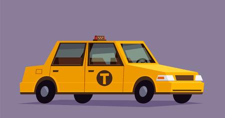 Yellow Taxi Auto. Wohnung geometrick Stil Illustration Vektorgrafik