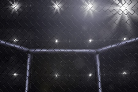 chain fence: empty mma arena side view under lights