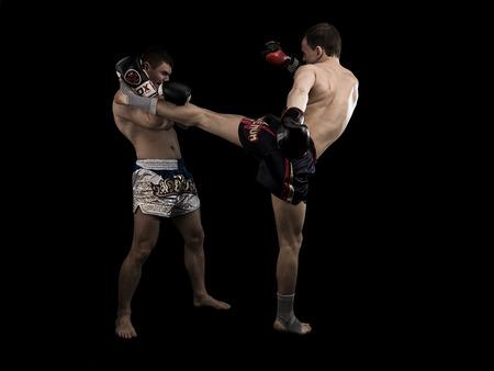 hombres haciendo ejercicio: Dos hombres caucásicos que ejercen fondo negro tradicional de artes marciales