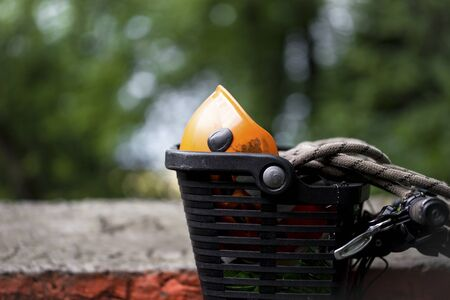 mountaineering: Equipment necessary for mountaineering and hiking in basket