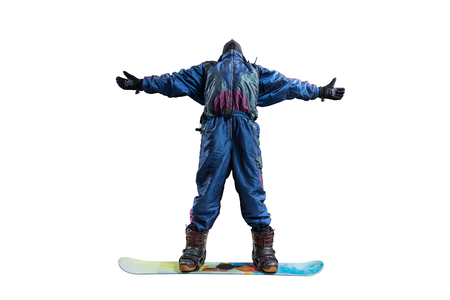 standing snowboarder isolated on white Stock Photo