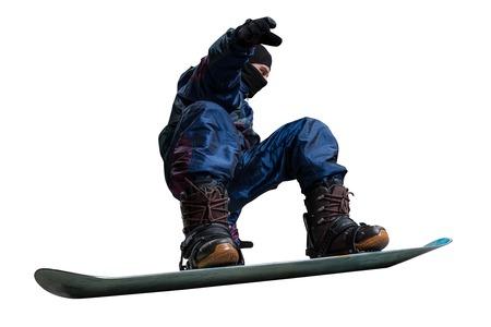 turning: turning snowboarder isolated on black