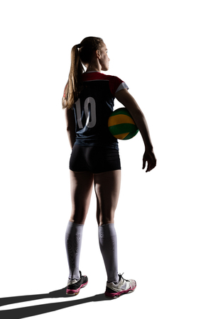 Female volleyball player staying with ball Banco de Imagens - 74563767