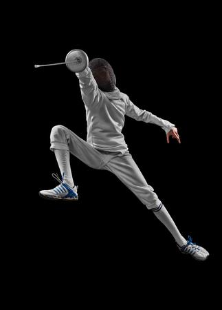male fencer in action Archivio Fotografico