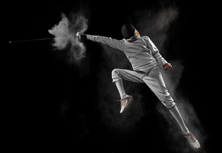 male fencer in action Stock Photo