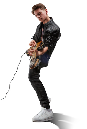 male musician playing guitar isolated on whit background