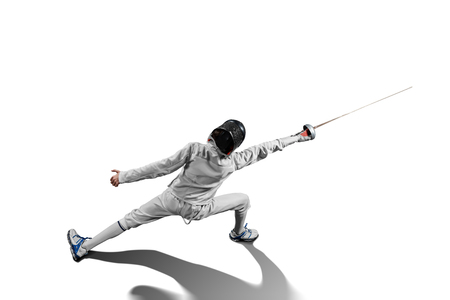 male fencer in action isolated Foto de archivo