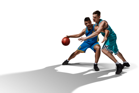 two basketball players gameplay isolated on white Archivio Fotografico