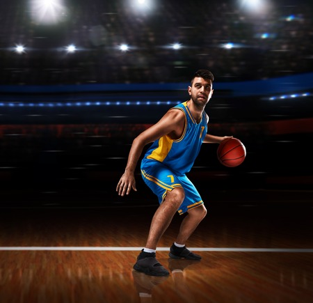 basketball player in action on basketball playground Stock Photo