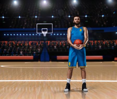 basketball player im blue uniform standing on basketball court