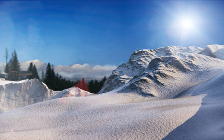 sunny winter mountains landscape 3d rendering background