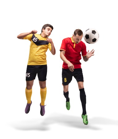 two fotball players struggling for the ball isolated on white 스톡 콘텐츠