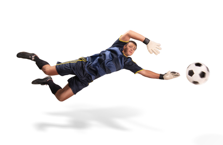 goalkeeper flying for the ball isolated on white 스톡 콘텐츠