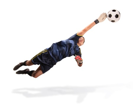 goalkeeper flying for the ball isolated on white 스톡 콘텐츠 - 114596125