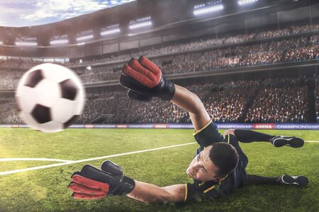 goalkeeper jumping for the ball on football match 스톡 콘텐츠 - 133815335