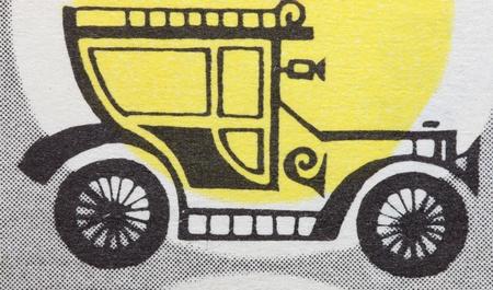 Retro car illustration on the background illustration