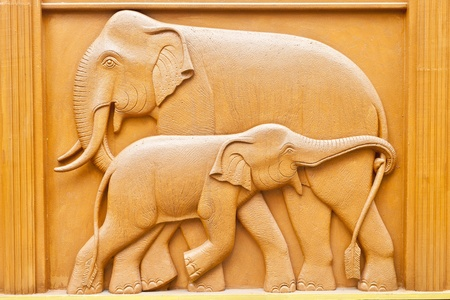 Carved wooden elephant. photo