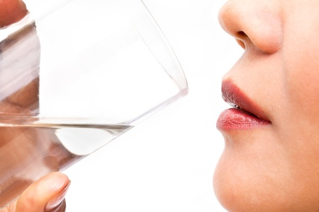 Drinking Water, Isolated in White Background Stock Photo